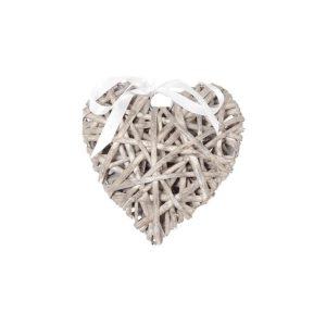 Serce ratanowe szare z wstążką