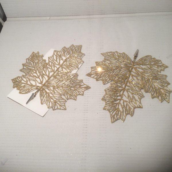 Ozdoba świąteczna liść złoty